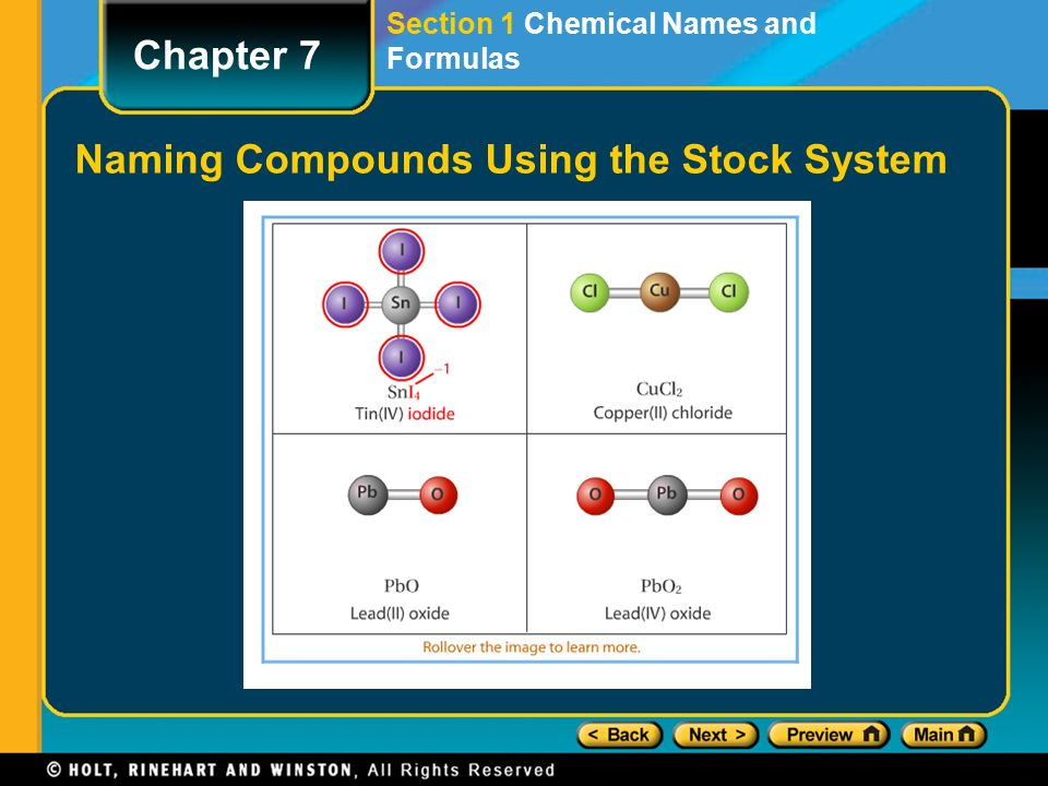 Binary compounds of cations with variable charges the stock system