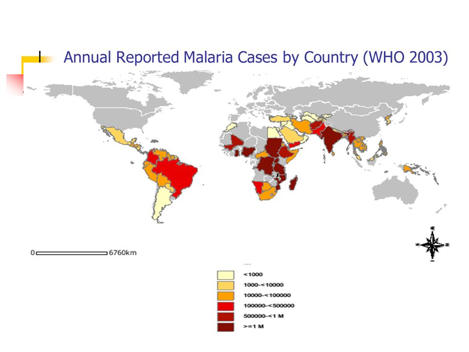 Annual Reported Malaria Cases by Country (WHO 2003)