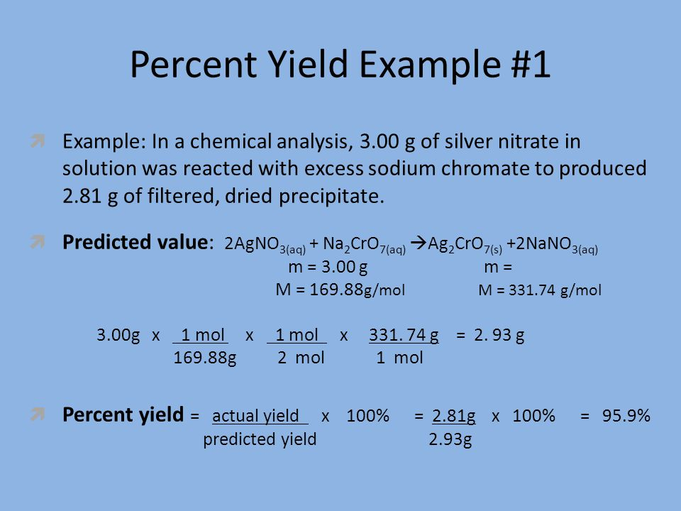 how to find percent yield