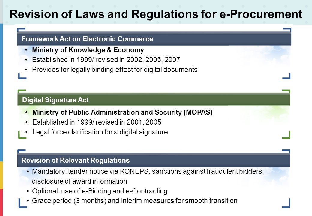 Revision of Laws and Regulations for e-Procurement