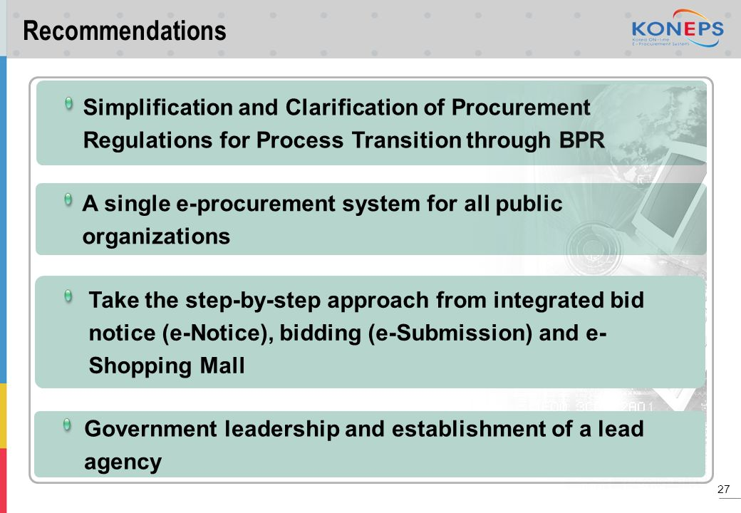Recommendations Simplification and Clarification of Procurement Regulations for Process Transition through BPR.