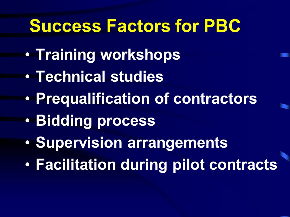 Success Factors for PBC