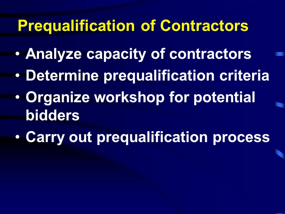 Prequalification of Contractors