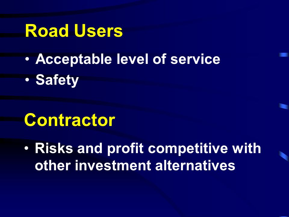 Road Users Contractor Acceptable level of service Safety