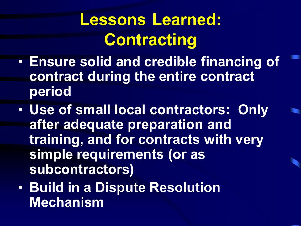 Lessons Learned: Contracting