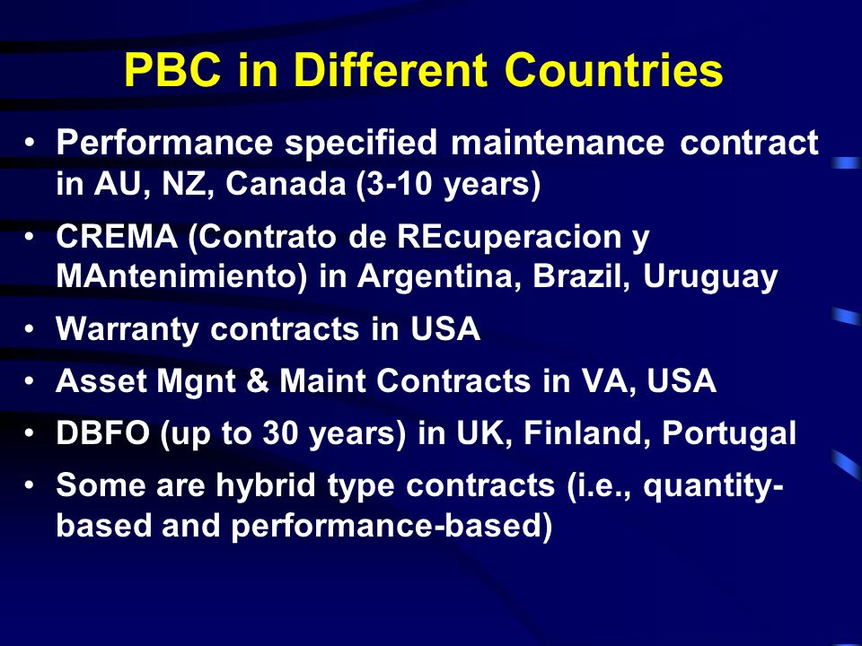 PBC in Different Countries