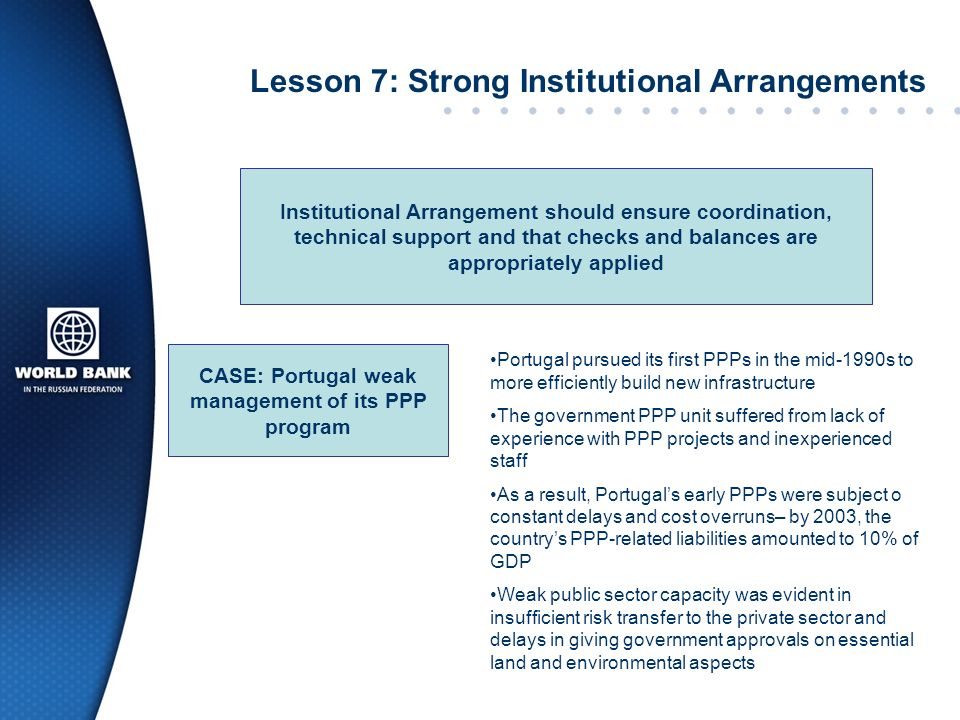Lesson 7: Strong Institutional Arrangements