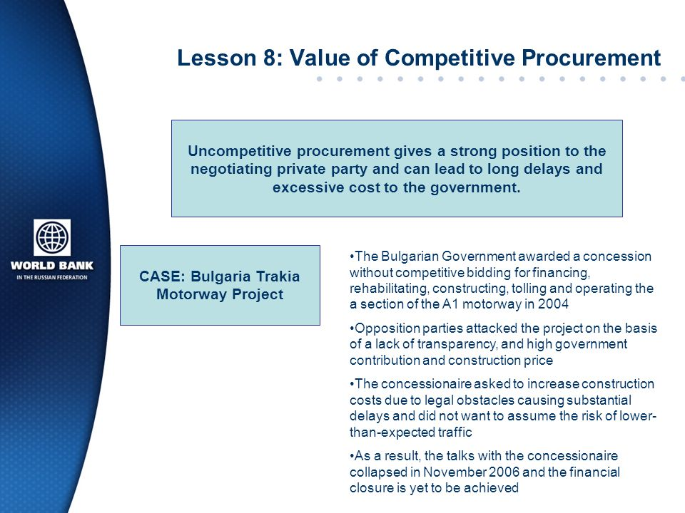 Lesson 8: Value of Competitive Procurement