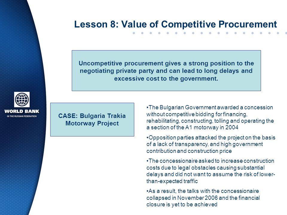Lesson 8: Value of Competitive Procurement