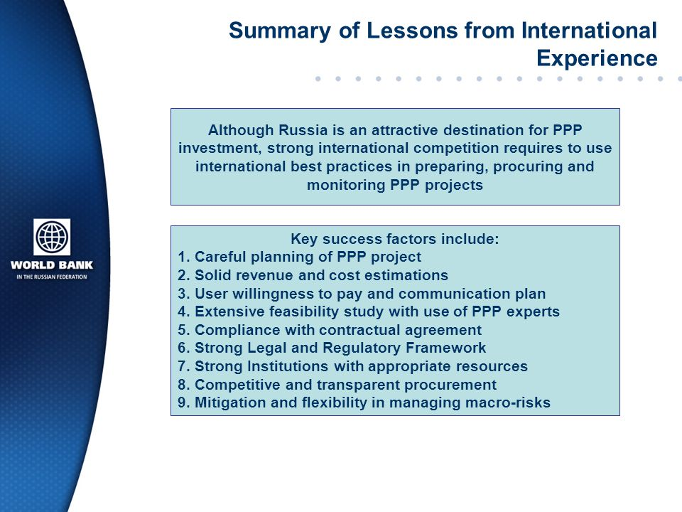 Summary of Lessons from International Experience