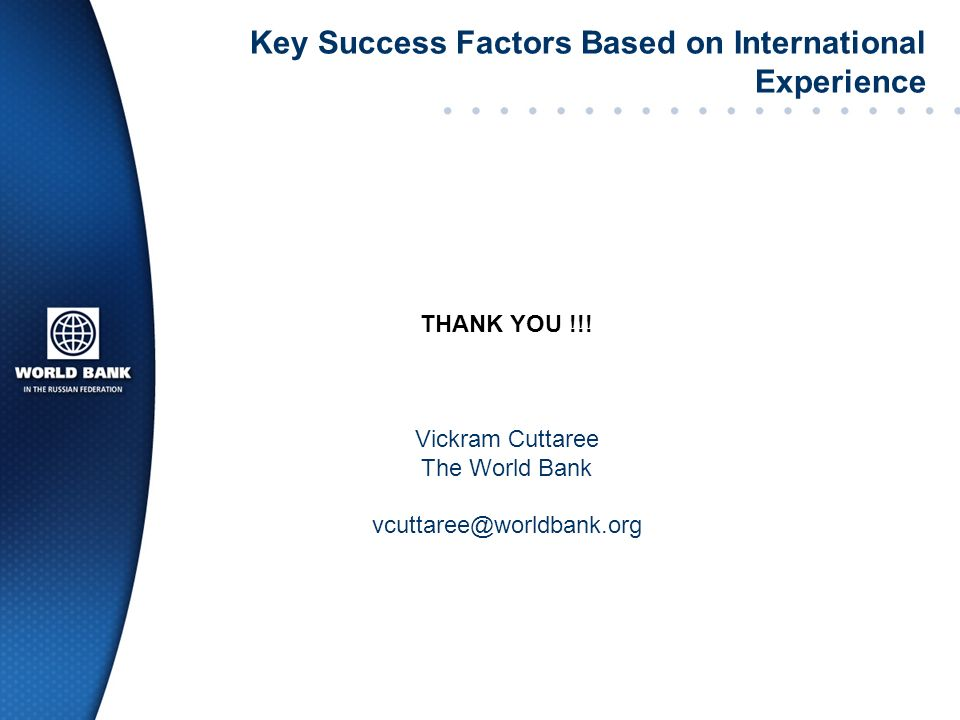 Key Success Factors Based on International Experience