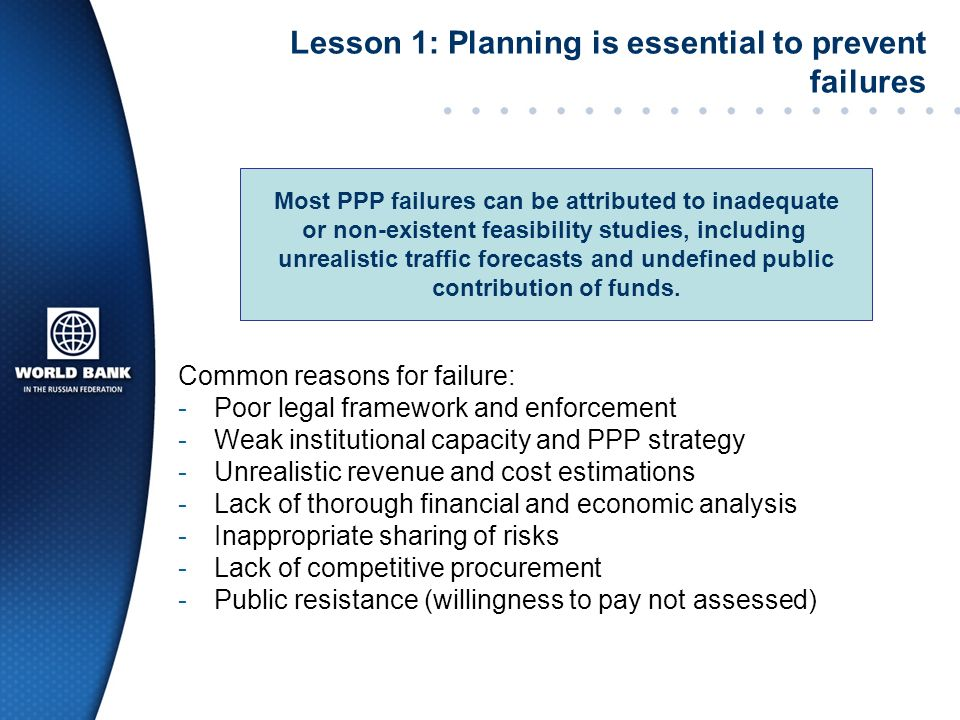 Lesson 1: Planning is essential to prevent failures