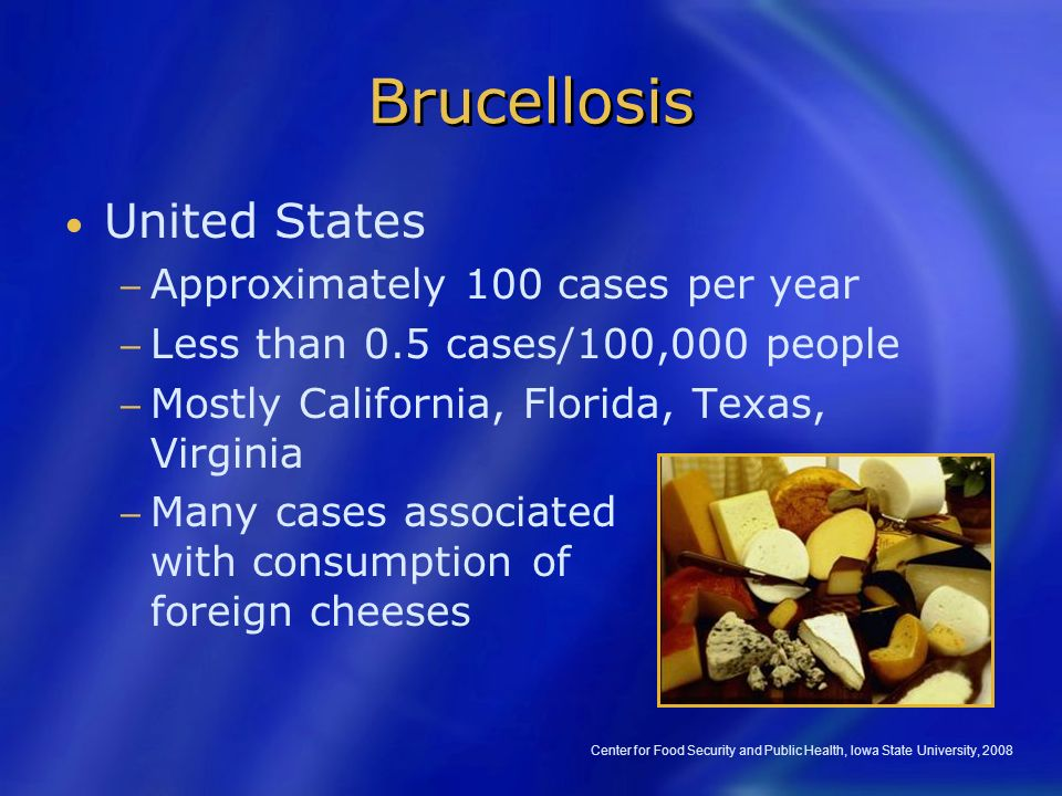"""brucellosis fever and united states The pathogens are not entirely species specific, eg, cattle may be infected with br suisthe disease has had numerous names, with """"undulant fever"""" becoming predominant in the united states until the 1940s, when it began to be called brucellosisthe first cases identified in the us resulted from exposure during the spanish-american war."""