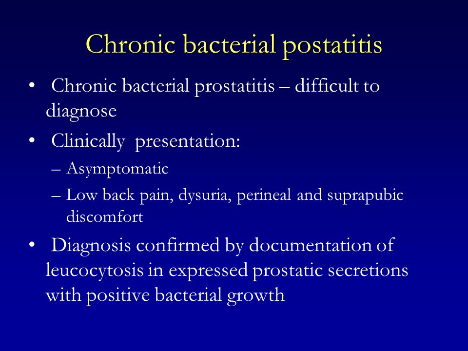 Chronic bacterial postatitis