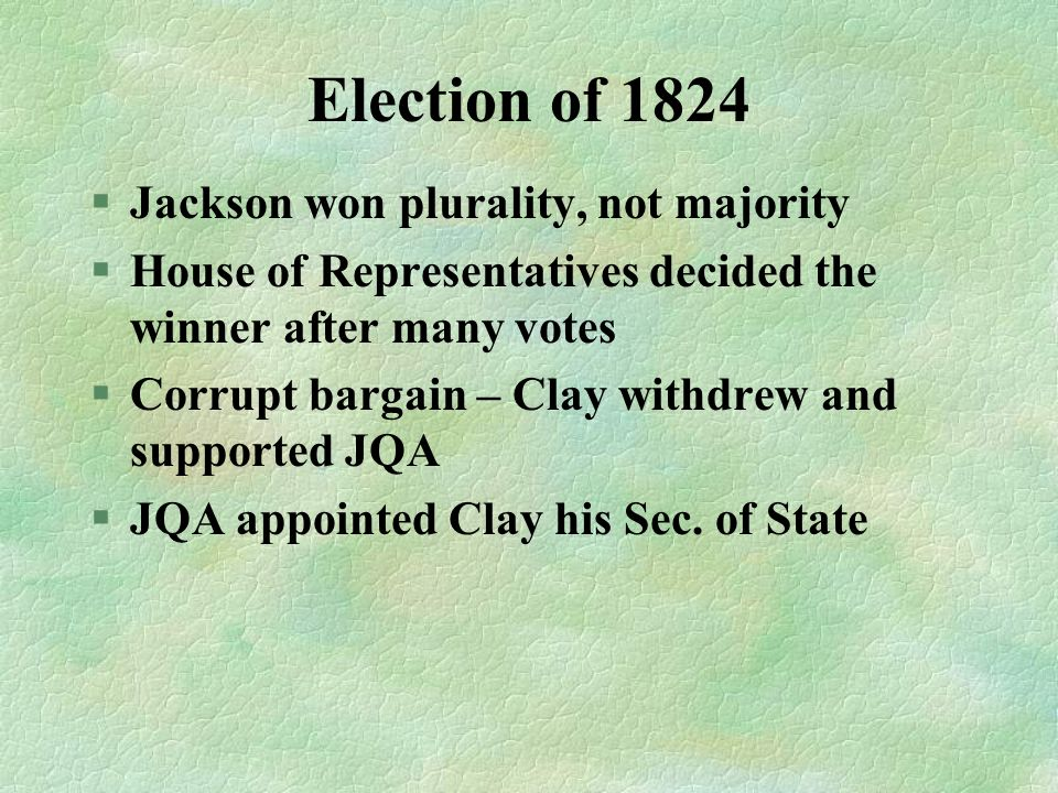 Election of 1824 Jackson won plurality, not majority