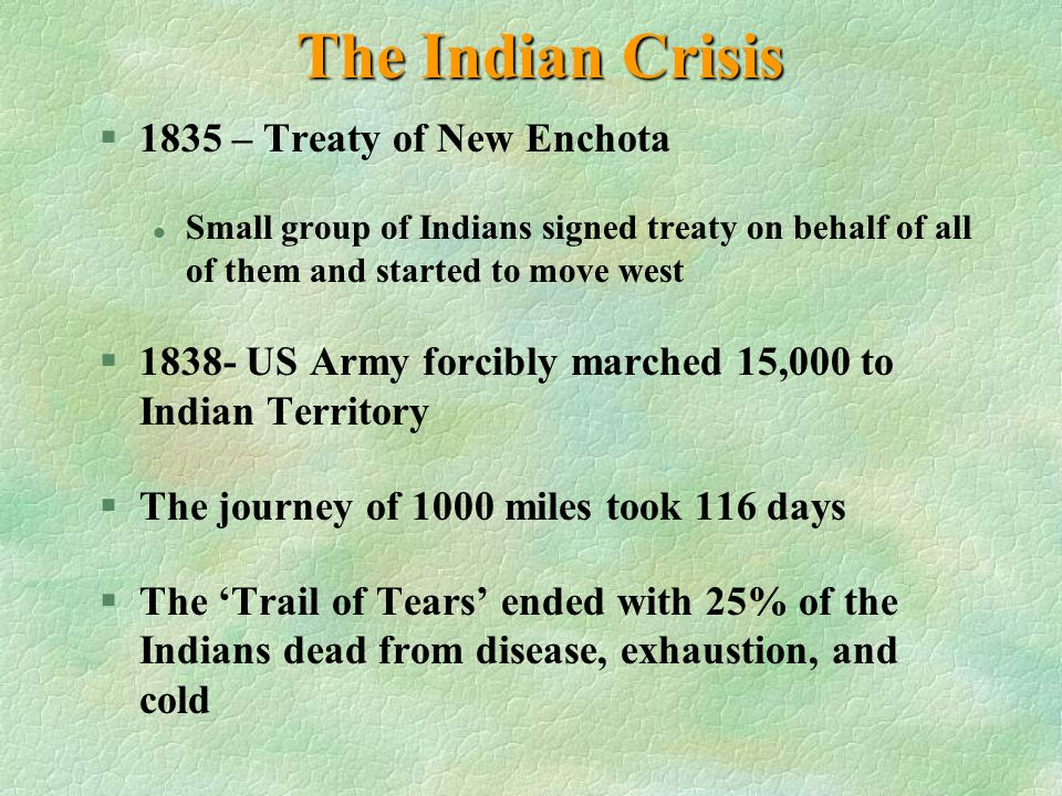 The Indian Crisis 1835 – Treaty of New Enchota