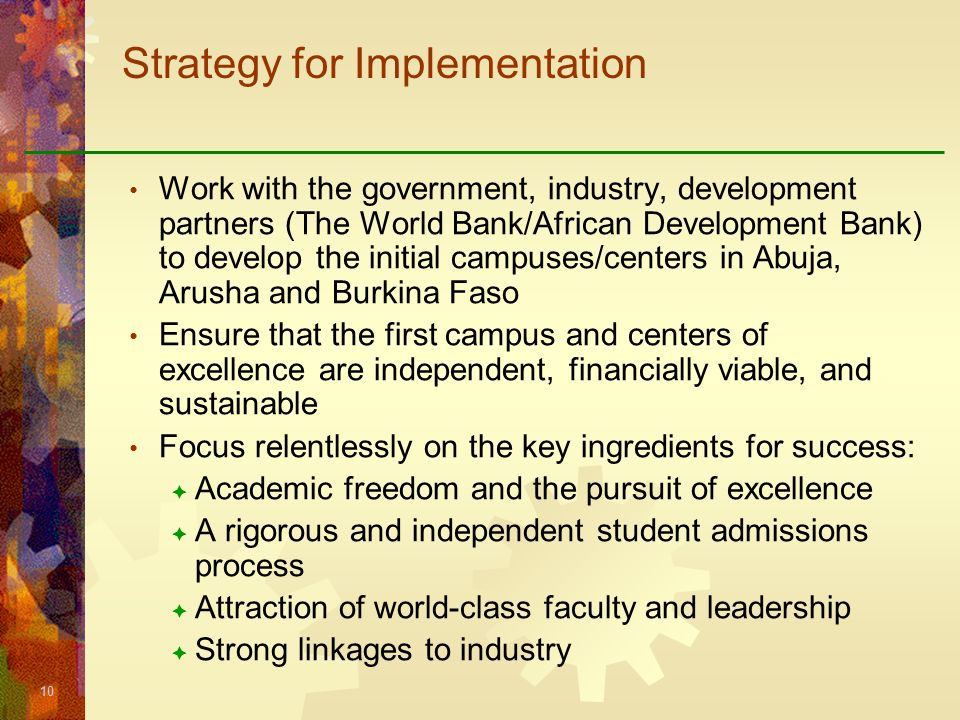 Strategy for Implementation