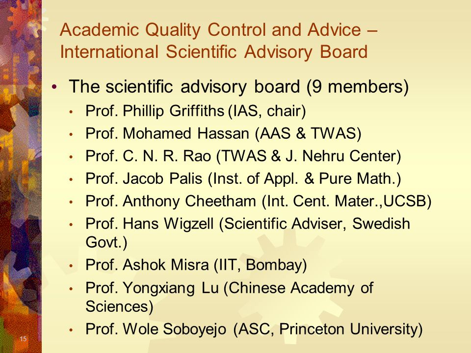 The scientific advisory board (9 members)