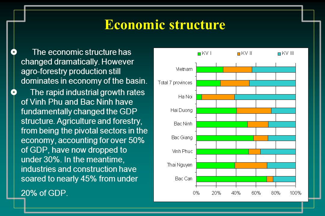 Economic structure The economic structure has changed dramatically. However agro-forestry production still dominates in economy of the basin.