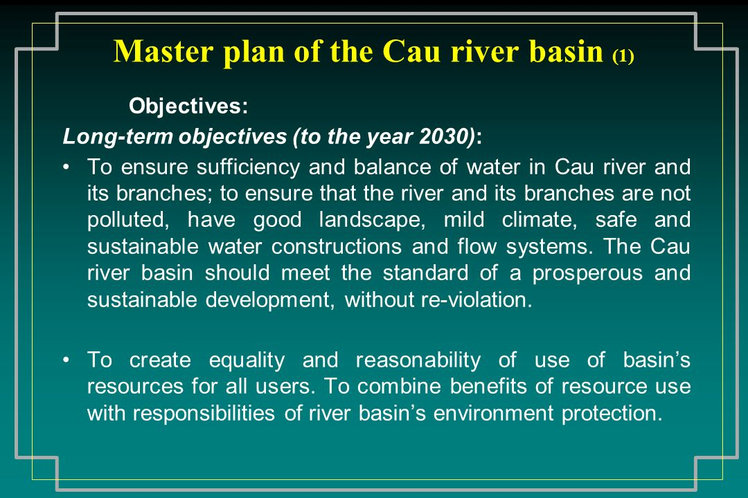 Master plan of the Cau river basin (1)