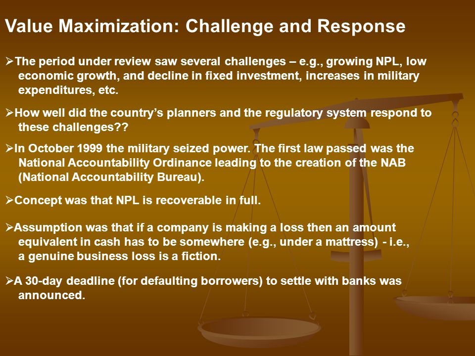 Value Maximization: Challenge and Response