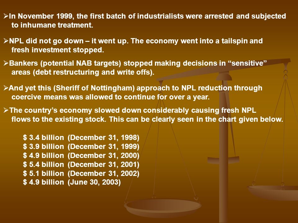 In November 1999, the first batch of industrialists were arrested and subjected