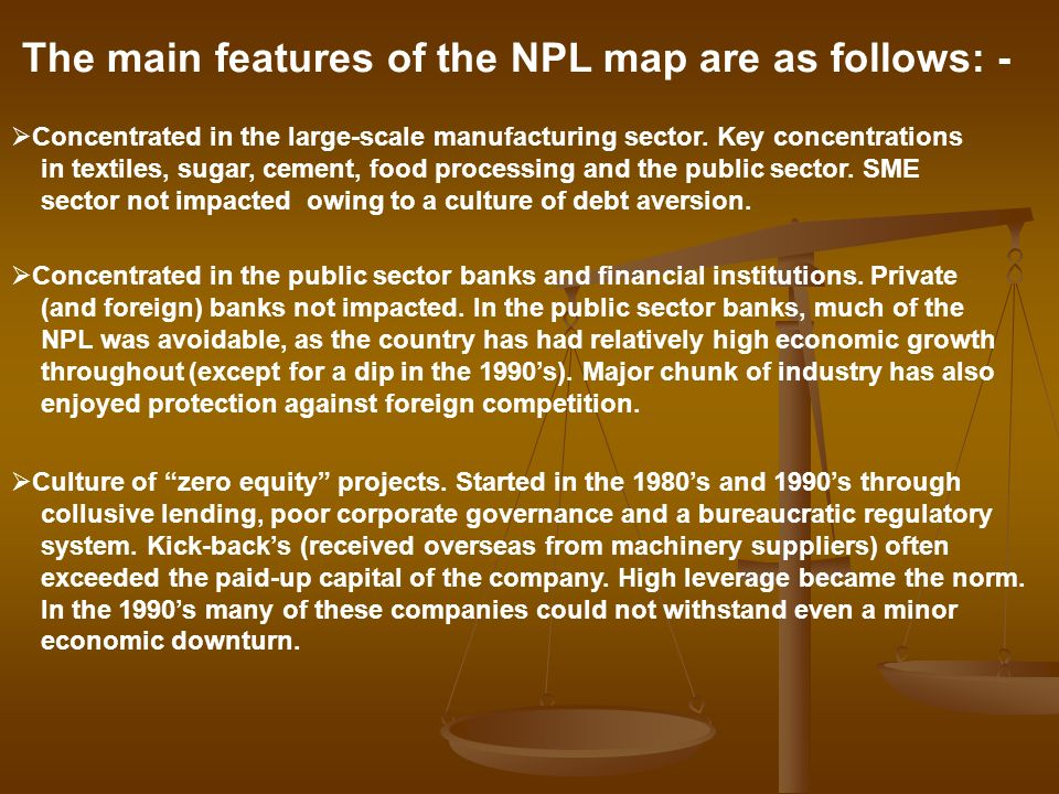 The main features of the NPL map are as follows: -