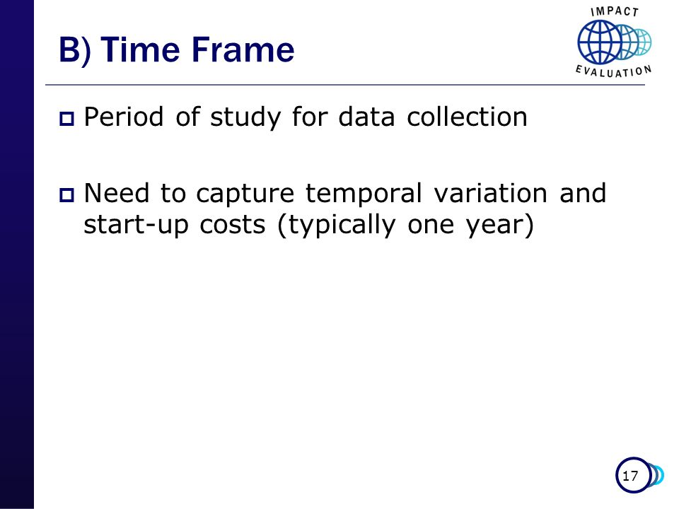 B) Time Frame Period of study for data collection