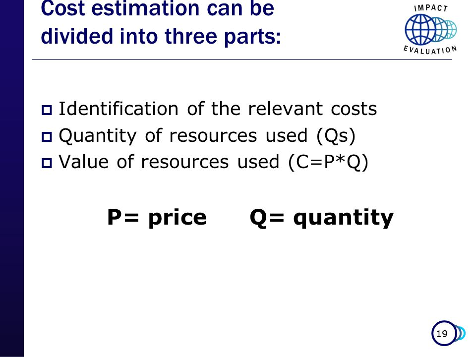 Cost estimation can be divided into three parts: