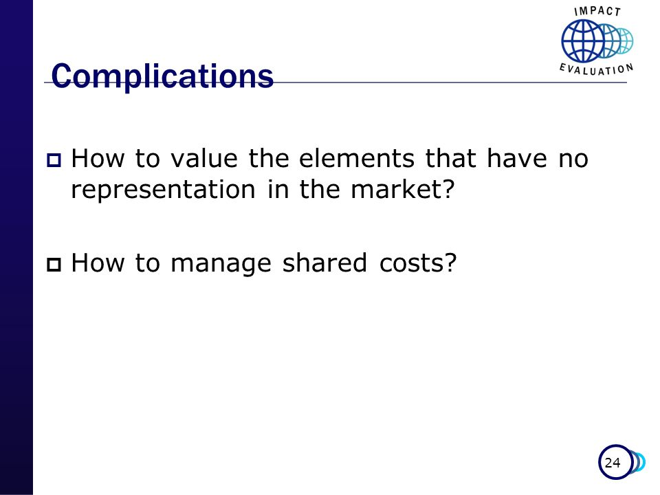 Complications How to value the elements that have no representation in the market How to manage shared costs