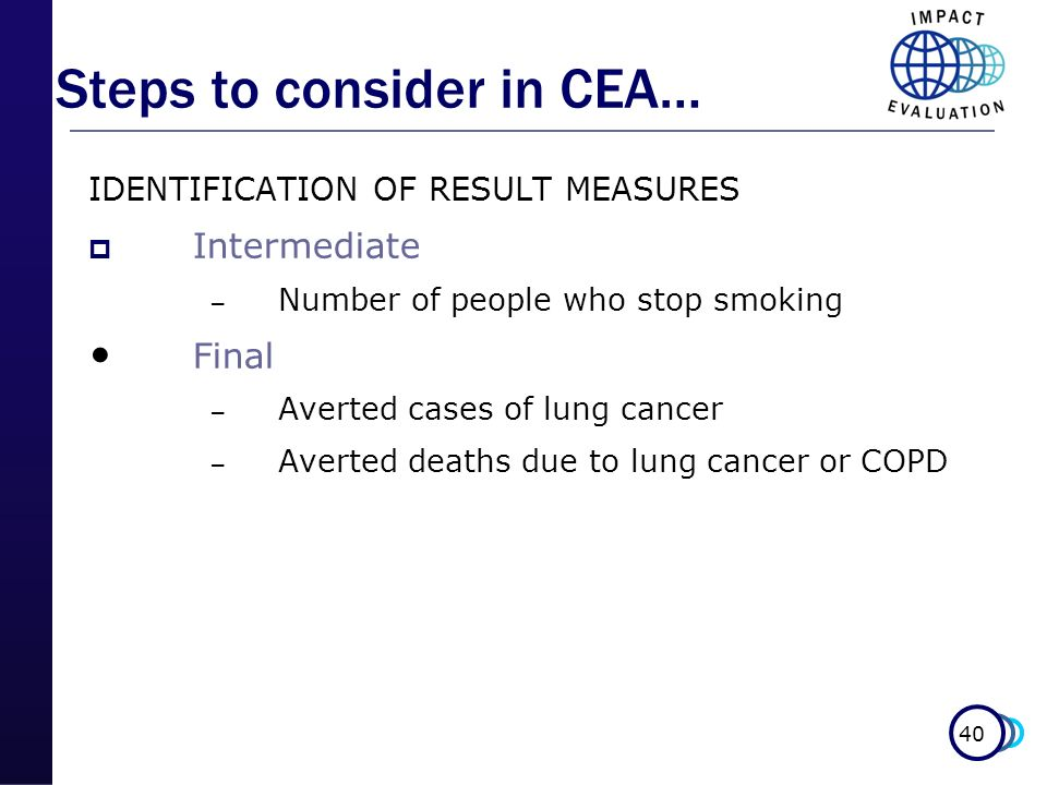 Steps to consider in CEA…