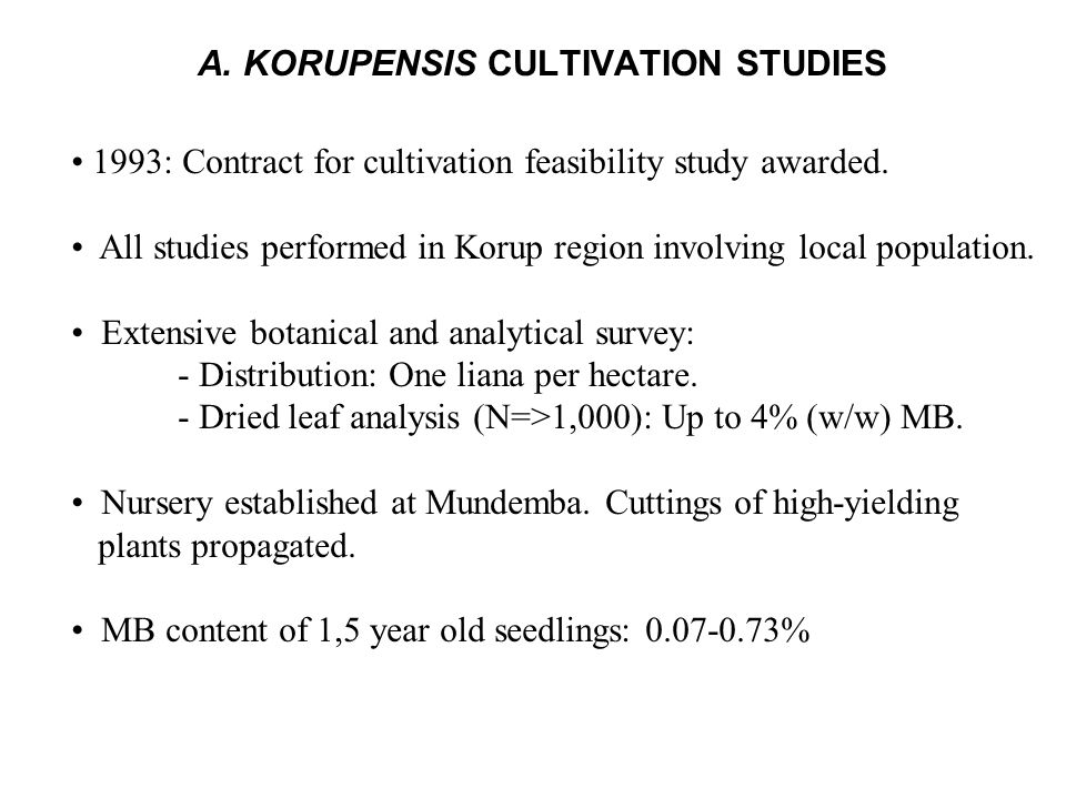 A. KORUPENSIS CULTIVATION STUDIES