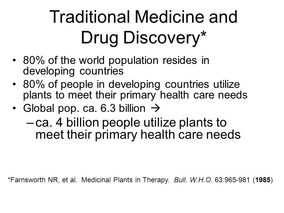 Traditional Medicine and Drug Discovery*
