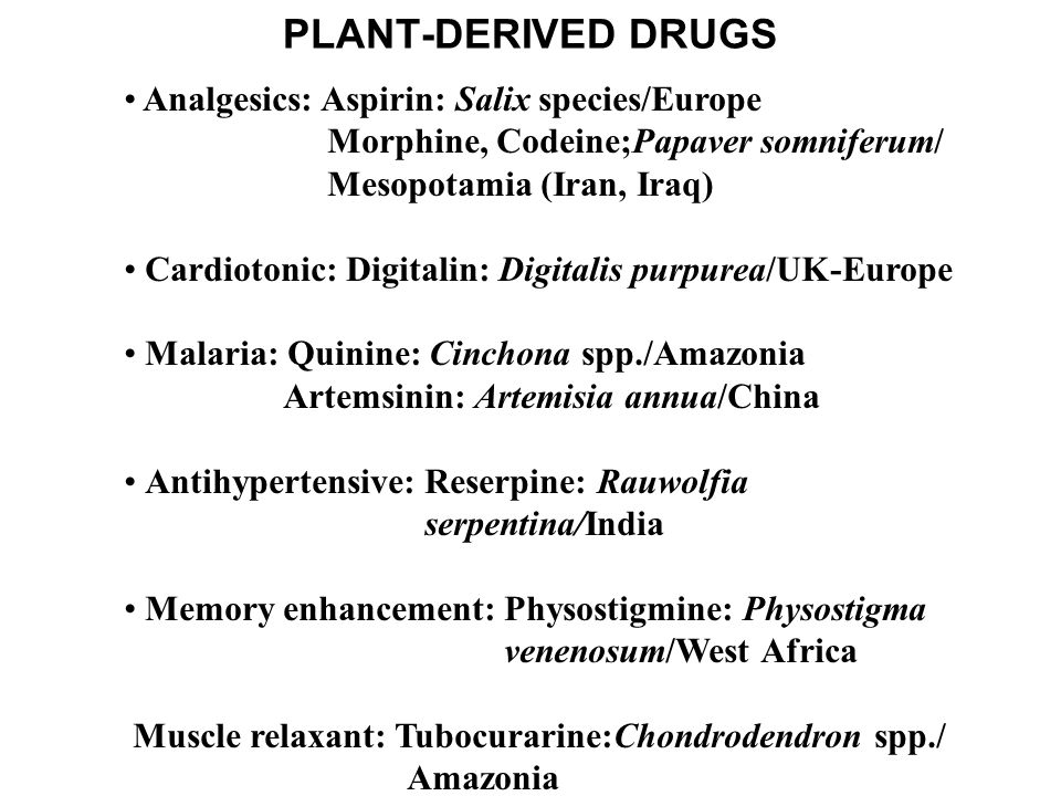 PLANT-DERIVED DRUGS Analgesics: Aspirin: Salix species/Europe