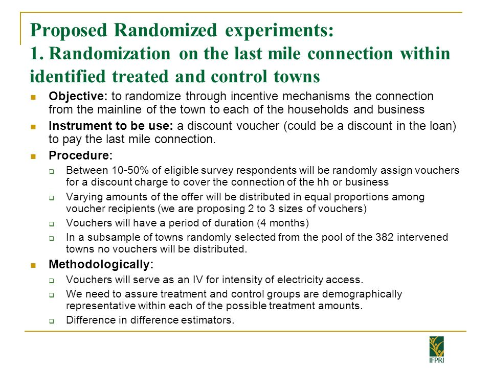 Proposed Randomized experiments: 1