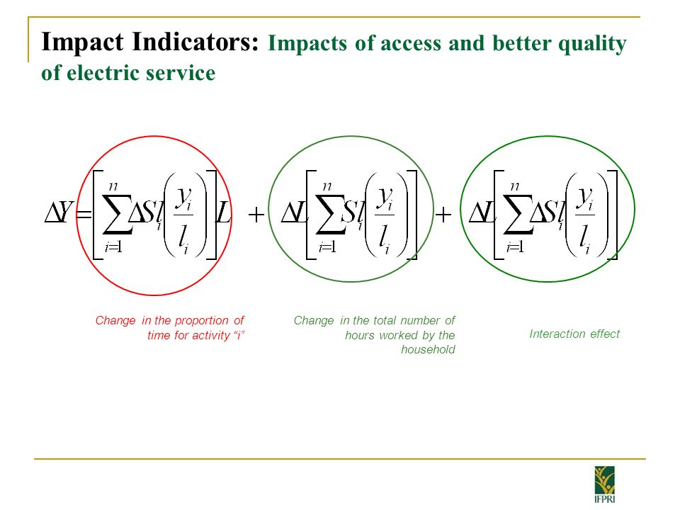 Impact Indicators: Impacts of access and better quality of electric service