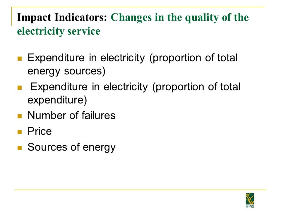 Impact Indicators: Changes in the quality of the electricity service