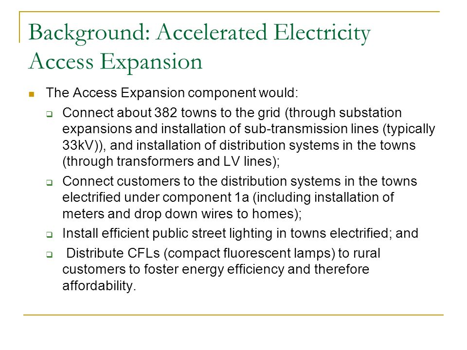 Background: Accelerated Electricity Access Expansion