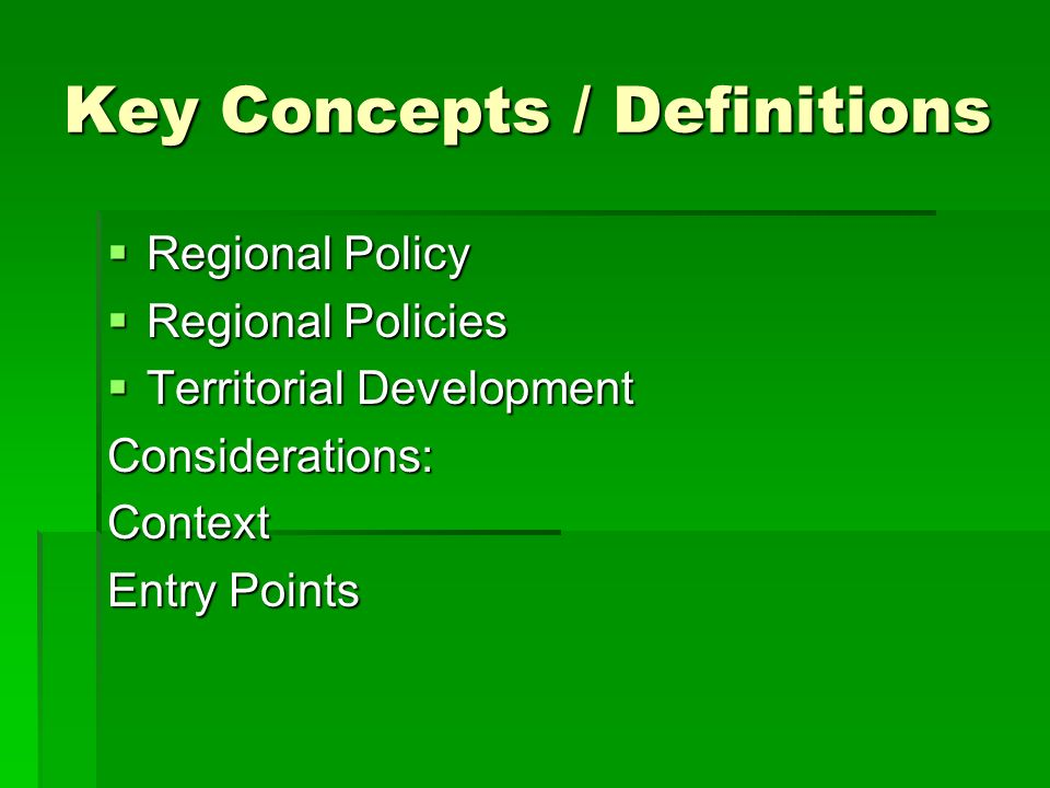 Key Concepts / Definitions