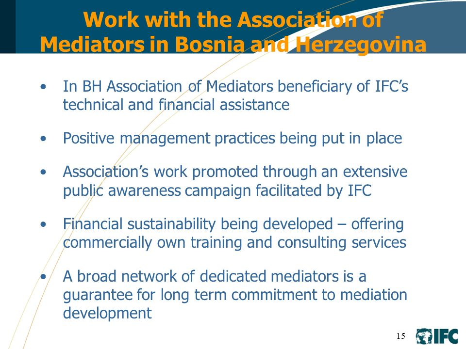 Work with the Association of Mediators in Bosnia and Herzegovina