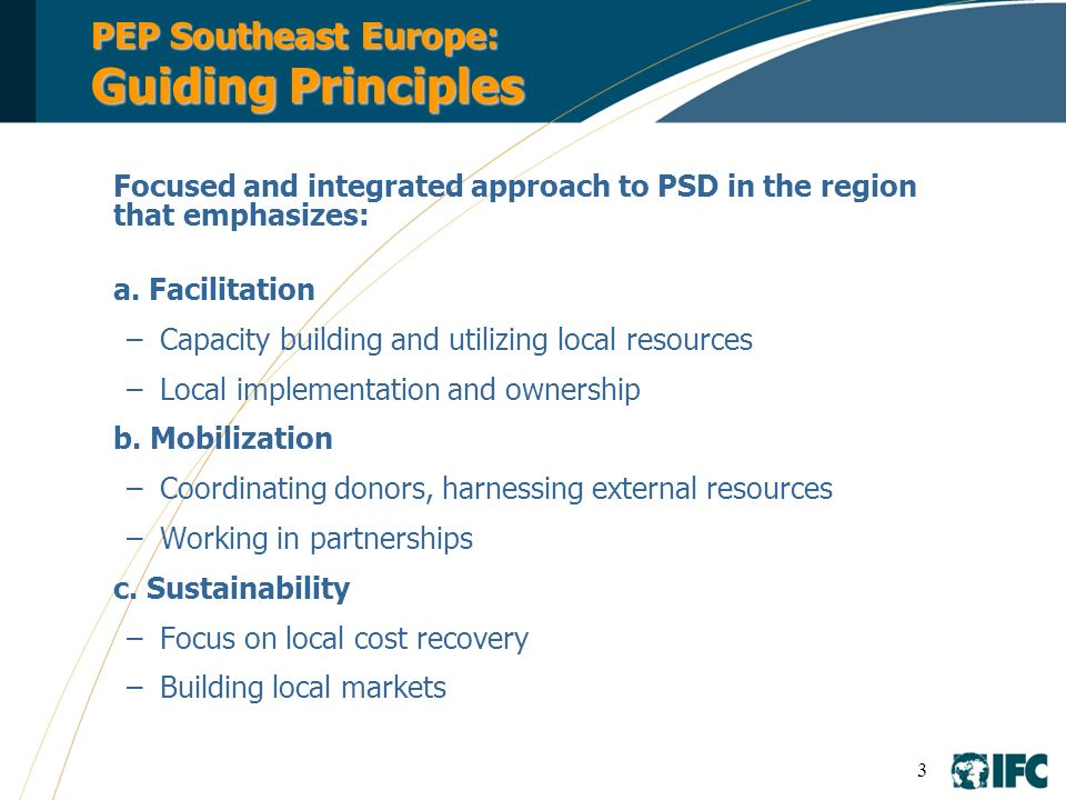 PEP Southeast Europe: Guiding Principles