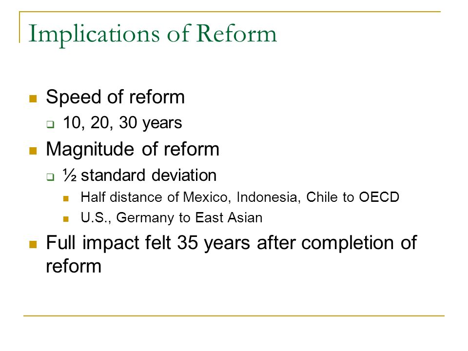 Implications of Reform
