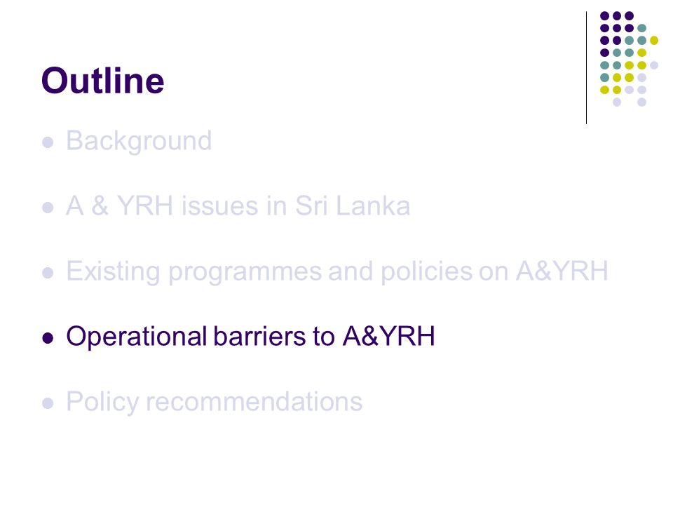 Outline Background A & YRH issues in Sri Lanka