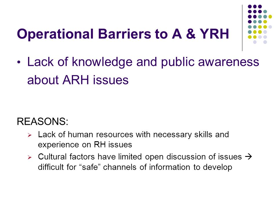 Operational Barriers to A & YRH