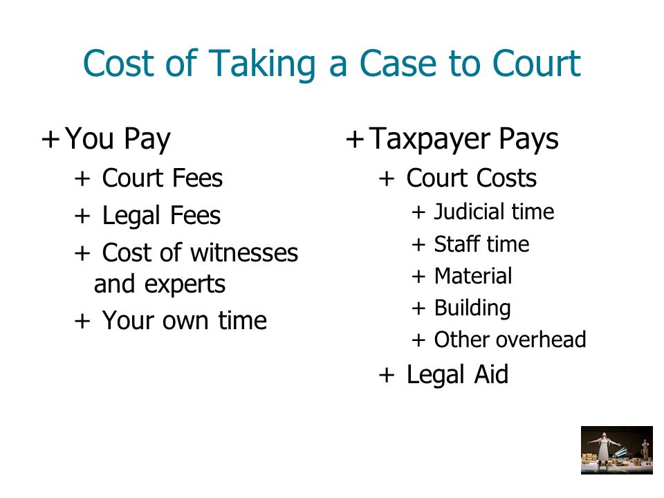Cost of Taking a Case to Court