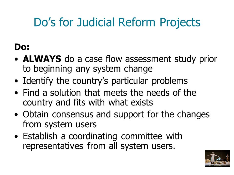 Do's for Judicial Reform Projects