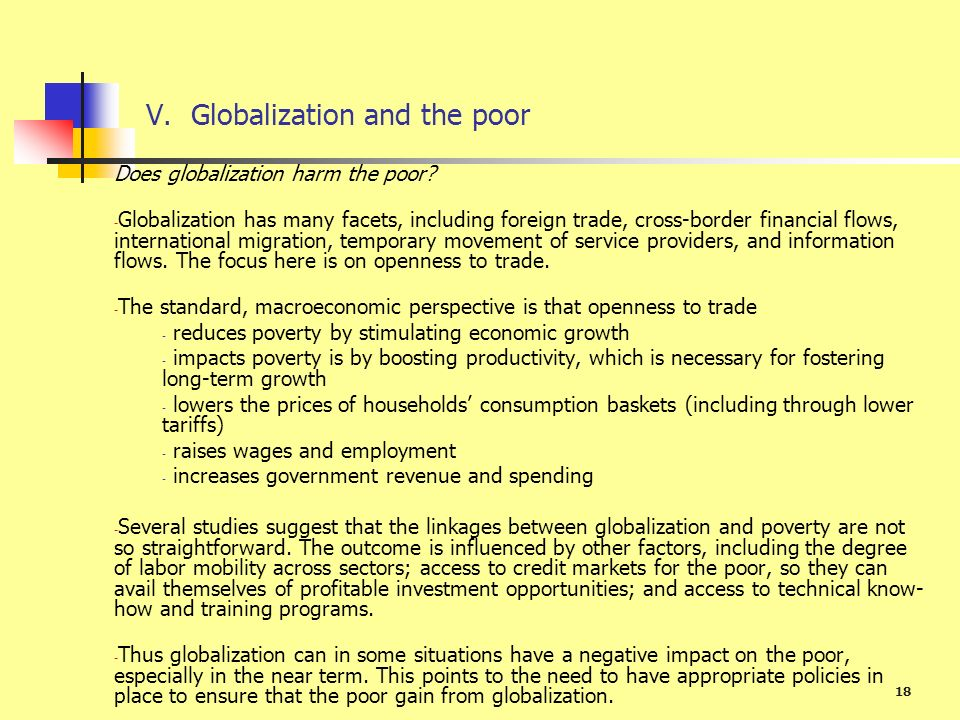 V. Globalization and the poor