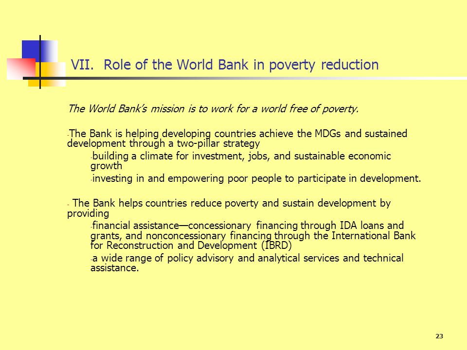 VII. Role of the World Bank in poverty reduction