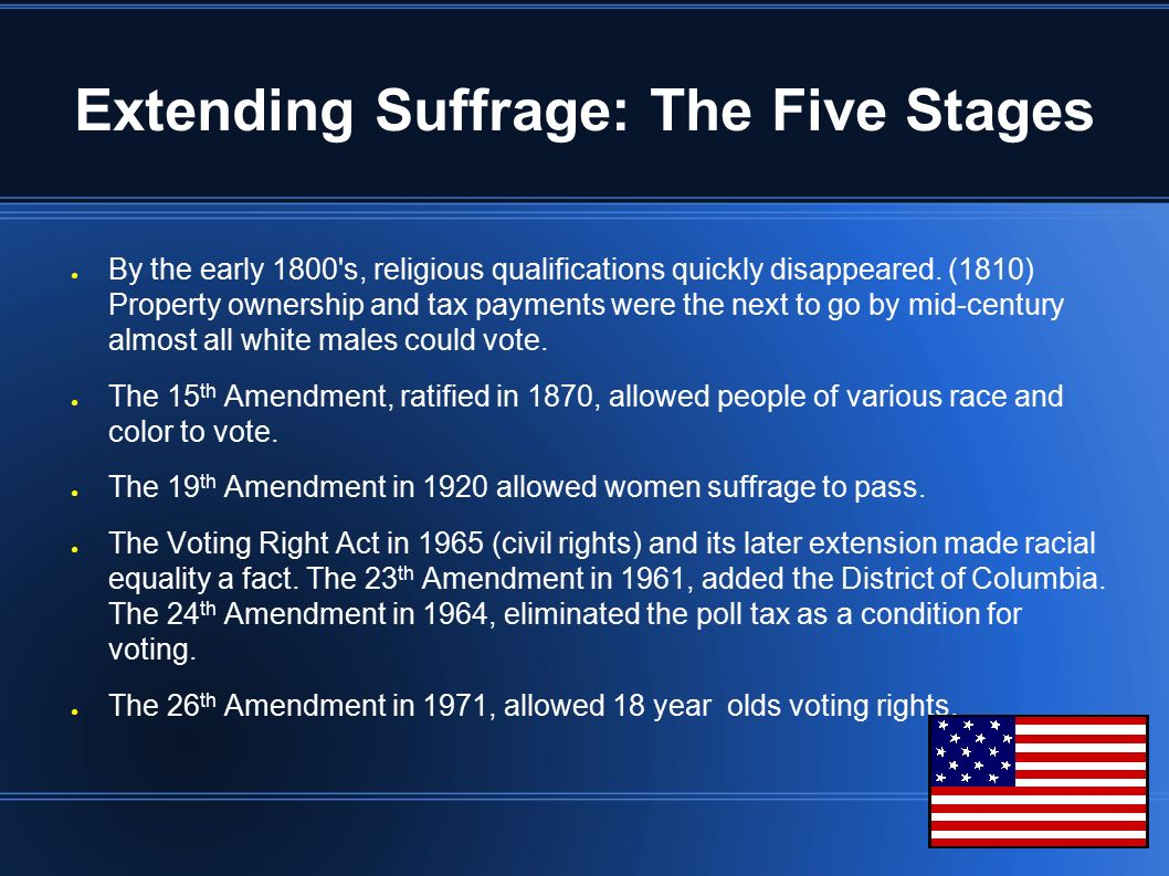 expansion suffrage passing 15th 19th and 26th amendments r Pols 1101 exam 2 description why did congress and the states move quickly to pass the 26th amendment the last major expansion of suffrage in the us.