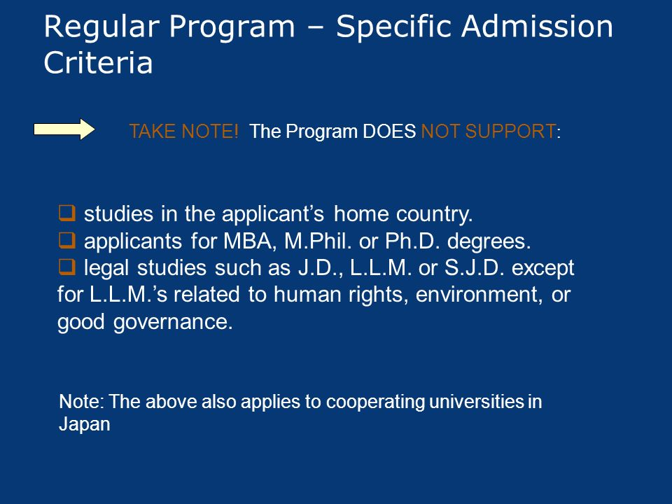 Regular Program – Specific Admission Criteria